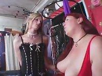 Redhead BBW bitch dominates a tranny girl