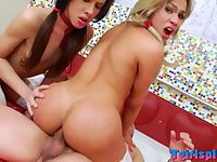 Teen trannies fooling around with dude