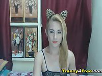 Sexy Hot Tranny Playing her Cock