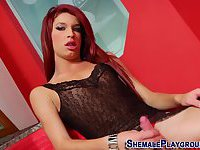 Sexy latina shemale cums