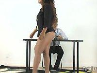 Double-dicked futanari shows her boss who's boss