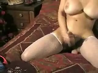 Gorgeous Tranny With Huge Tits Jerking Off
