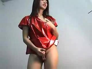 Asian TS adores latex and masturbation