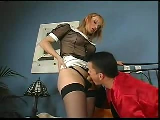 Client fucks a TS maid with a great delight
