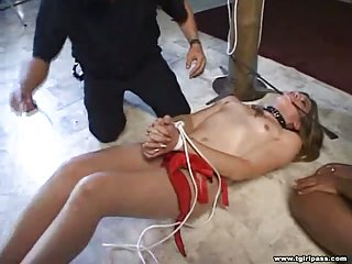 Shemale Slave Gets Tied