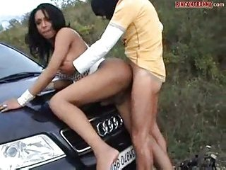 Luscious Ebony Shemale Ass Fucked By The Car