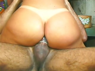 Sexy blond shemale fucked by a black dick