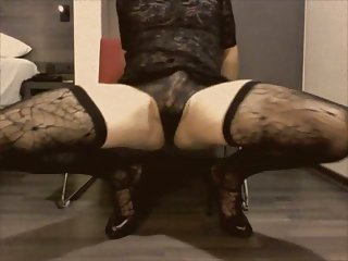 Retro crossdresser dildo masturbation