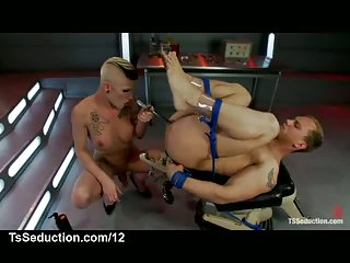Bound guy gets enema and cock from tranny