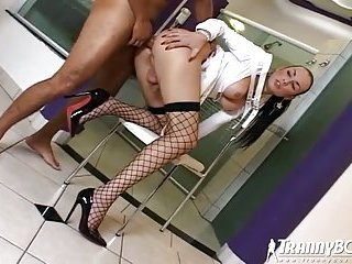 Sexy latina in stockings enjoys anal