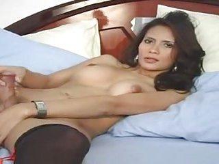 Sexy Tgirl in stockings wanking