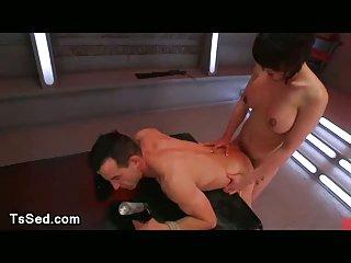 Asian tranny Eva Lin fucks bound guy
