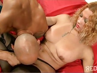Blonde shemale working with guy ass