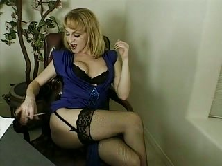 Hot blonde solo at the office