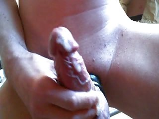 Amateur shaved cock stroking