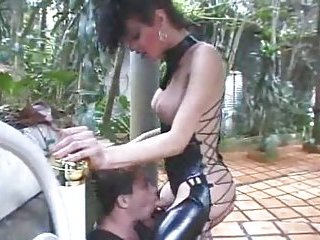 Vampy tranny drilled by her slave