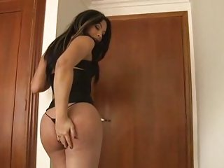Hot Colombian Brunette TS Jerking Off