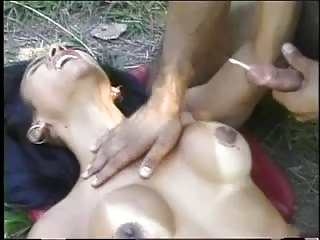 Fores sex for a naked Tgirl bitch
