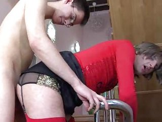 Sex on the stairs with a skilful crossdresser