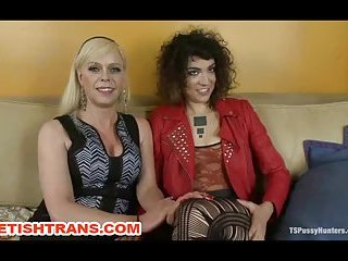 Tranny and pussy sluts bound each other