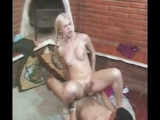Blonde tranny and guy in a hotel