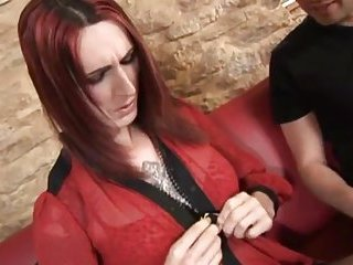 American hammering for tattooed redhead tgirl