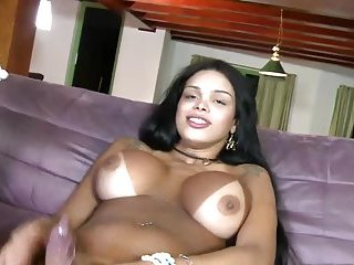 Shemale tranny pounding ass and loves it