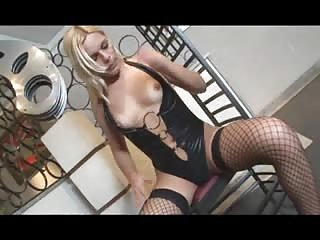 Stunning blonde jerks off on the chair