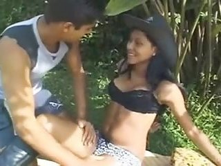 Hot latina couple has drilling on the fresh air