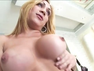 Blonde busty tranny babe gets sucked off