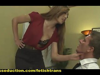 TS Bosslady Blows Him Fucks Him and Dumps Him