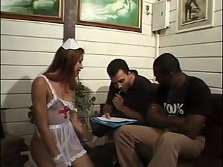Tranny gets a cum after interracial double anal