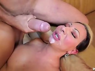 Busty Tranny face covered with jizz