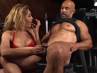 Interracial sex with a muscle guy