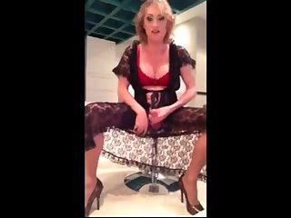 Blonde TS milf jerks hot