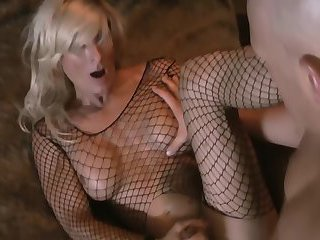 Busty blonde ts in sexy fishnet
