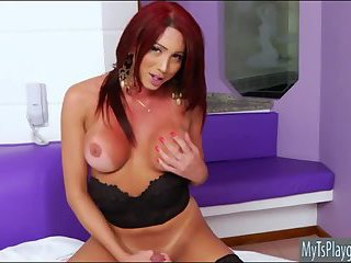 Huge boobs shemale Amanda C masturbates