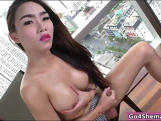Busty ladyboy Emma masturbates to cum