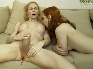 Tgirl cums over blonde